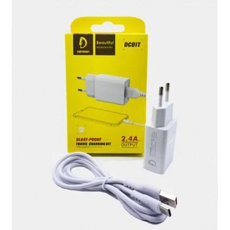 Chargeur Denmen 2.4A avec câble Type C - Blanc (DC01T)